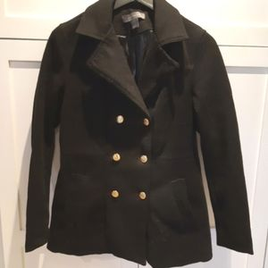Suzy Shier Black Pea Coat w. Gold Anchor Buttons
